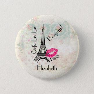 Ooh La La Paris Eiffel Tower Vintage Bonjour Button