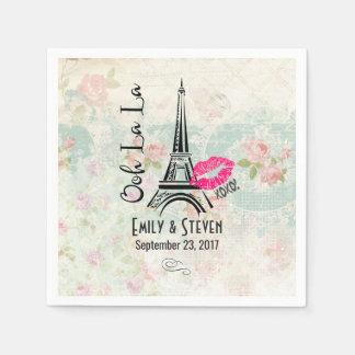 Ooh La La Paris Eiffel Tower Vintage Wedding Napkin