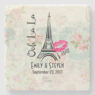 Ooh La La Paris Eiffel Tower Vintage Wedding Stone Coaster