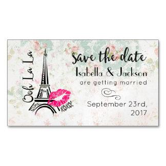 Ooh La La Paris Eiffel Tower Wedding Save The Date Business Card Magnet