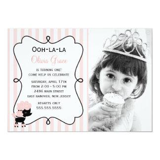 Ooh la la! Paris Pink Poodle 5x7 Paper Invitation Card
