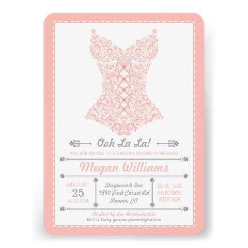 Ooh La La Pink Lingerie Party Invitation