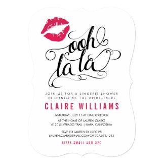 Ooh La La Pink Lips Typography Lingerie Shower Card