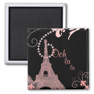 ooh la la pink vintage paris eiffel tower 2 inch square magnet