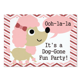 OOh-La-La Poodle Dog Birthday Invitation