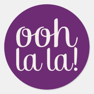 Ooh La La Purple Classic Round Sticker