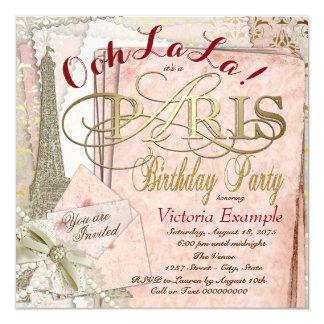 Ooh La La Vintage Paris Birthday Party Card