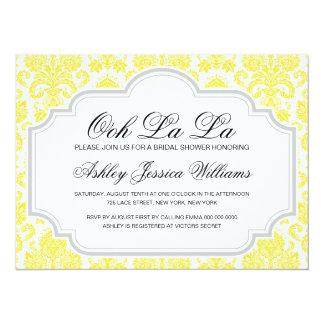 Ooh La La Yellow Damask Bridal Shower Invitations
