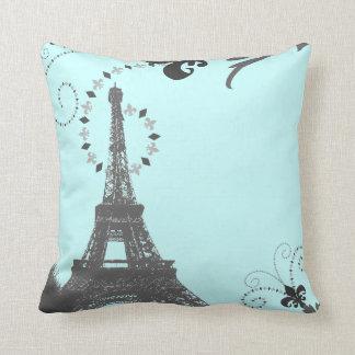 oohlala blue vintage paris eiffel tower pillow
