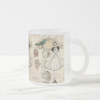 Oohlala fashionista seashell Vintage Paris Frosted Glass Coffee Mug