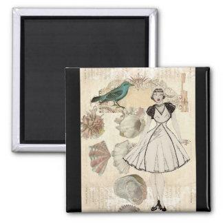 Oohlala fashionista seashell Vintage Paris 2 Inch Square Magnet
