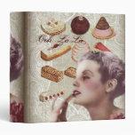 Oohlala pastry Vintage Paris Lady bridal shower 3 Ring Binder