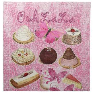 Oohlala temptation cookies Vintage Pink Paris Cloth Napkin