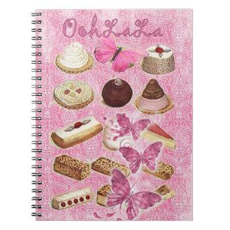 Oohlala temptation cookies Vintage Pink Paris Spiral Notebook