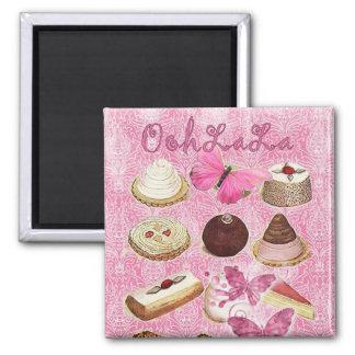 Oohlala temptation Vintage Chocolate Pink Paris 2 Inch Square Magnet