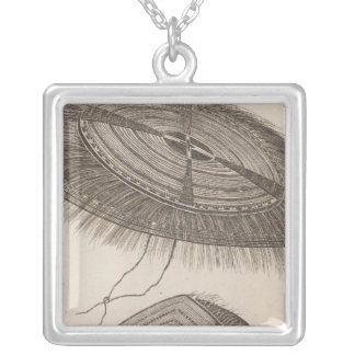 Oonalashka caps, Alaska Square Pendant Necklace