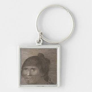 Oonalashka woman, Alaska Silver-Colored Square Keychain
