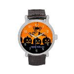 ¡Oooh! Feliz Halloween en naranja y negro Reloj