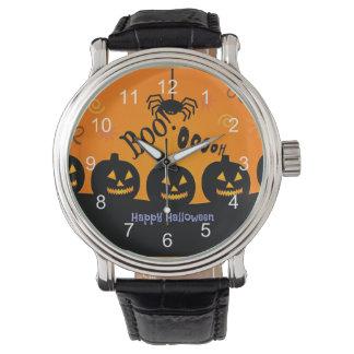 ¡Oooh! Feliz Halloween en naranja y negro Relojes De Mano