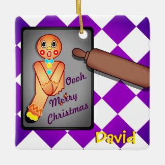 Oooh, Merry Christmas Gingerbread Man Ceramic Ornament