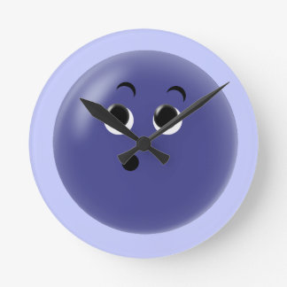Ooow! So Blue Smiley Face Round Clock