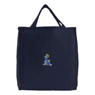 Oops Boy Bear Embroidered Tote Bag