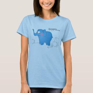 Oops… elefante divertido en chiste de la tienda de playera