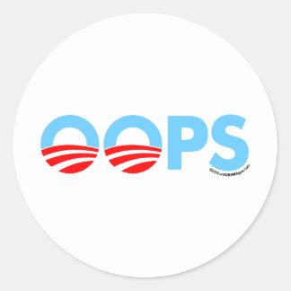 Oops error de Obama Pegatina Redonda
