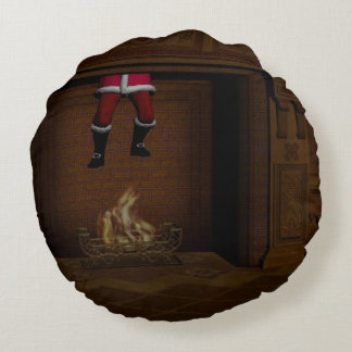 Oops - Hot Surprise For Santa Claus Round Pillow