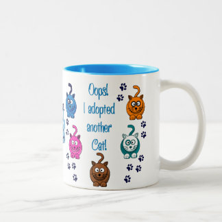 Oops!  I Adopted Another Cat! Two-Tone Coffee Mug