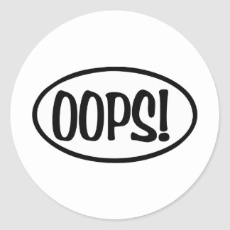 oops oval classic round sticker