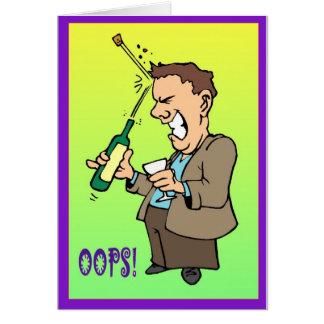 Oops, tapando problemas con corcho tarjeta de felicitación