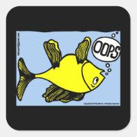 OOPS upside down fish funny cartoon gift