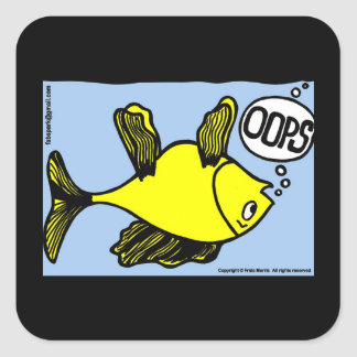 OOPS upside down fish funny cartoon gift Square Sticker