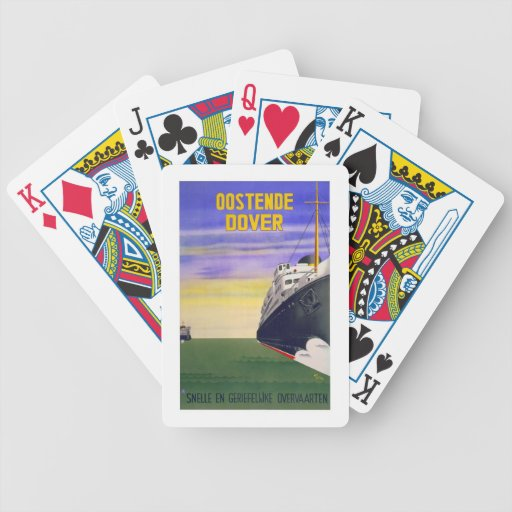 Oostende Dover Europe Vintage Travel  Ship Bicycle Playing Cards