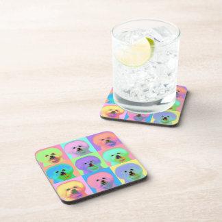 Op Art - Bichon Frise - Cody Beverage Coaster