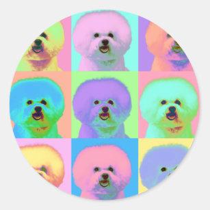 fb81e1f148f2c7 Op Art - Bichon Frise - Cody Classic Round Sticker