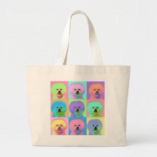 Op Art - Bichon Frise - Cody Large Tote Bag