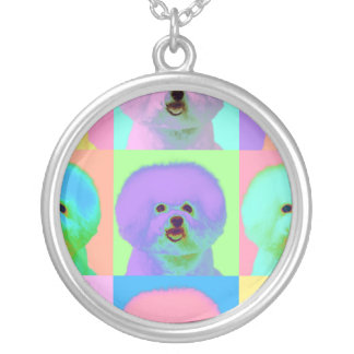 Op Art - Bichon Frise - Cody Silver Plated Necklace