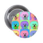 Op Art - Bichon Frise Pinback Buttons