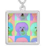Op Art - Bichon Frise Square Pendant Necklace