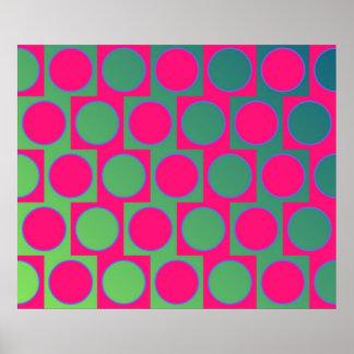 Op Art Big Circles Alternated Pattern Magenta Print