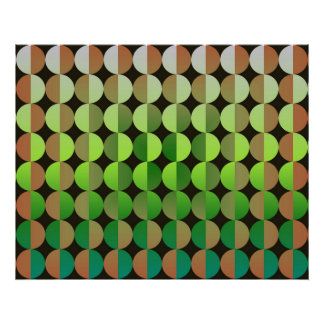 Op Art Big Circles By Half Orange And Green Poster