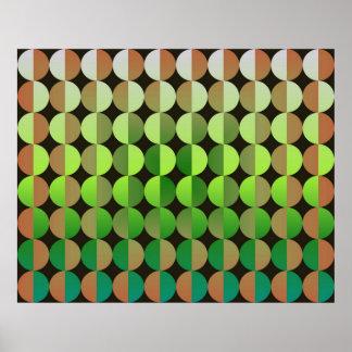 Op Art Big Circles By Half Orange And Green Print