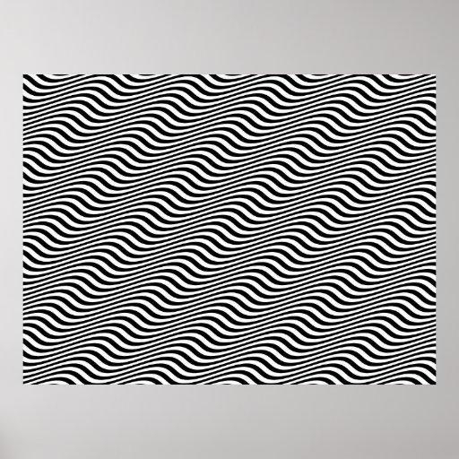 Op Art Black and White Horizontal Sine Stripes Print