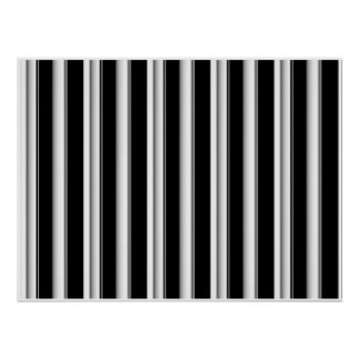 Op Art Black and White Smooth Stripes One Print