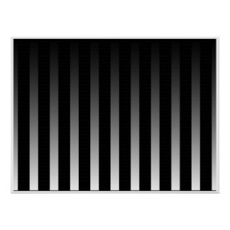 Op Art Black and White Smooth Stripes Two Poster