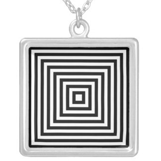 Op-art Black & White Infinity Squares Illusion Silver Plated Necklace