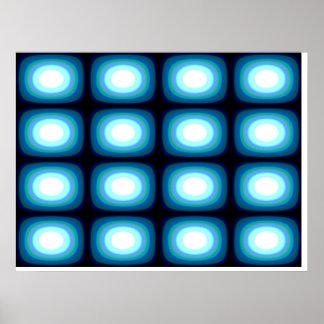 Op Art Blue Blobs Print