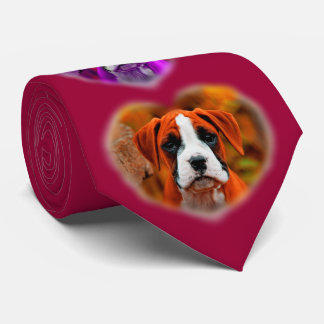 Op Art Boxer Puppy Dog in Heart Frame Mens Tie